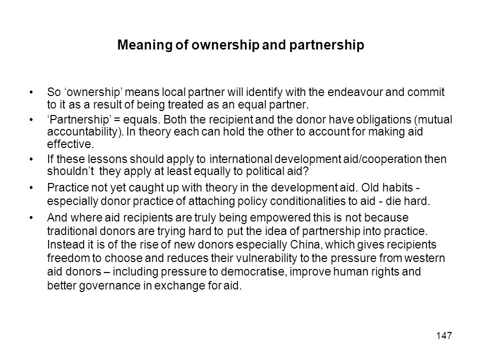 Meaning of ownership and partnership