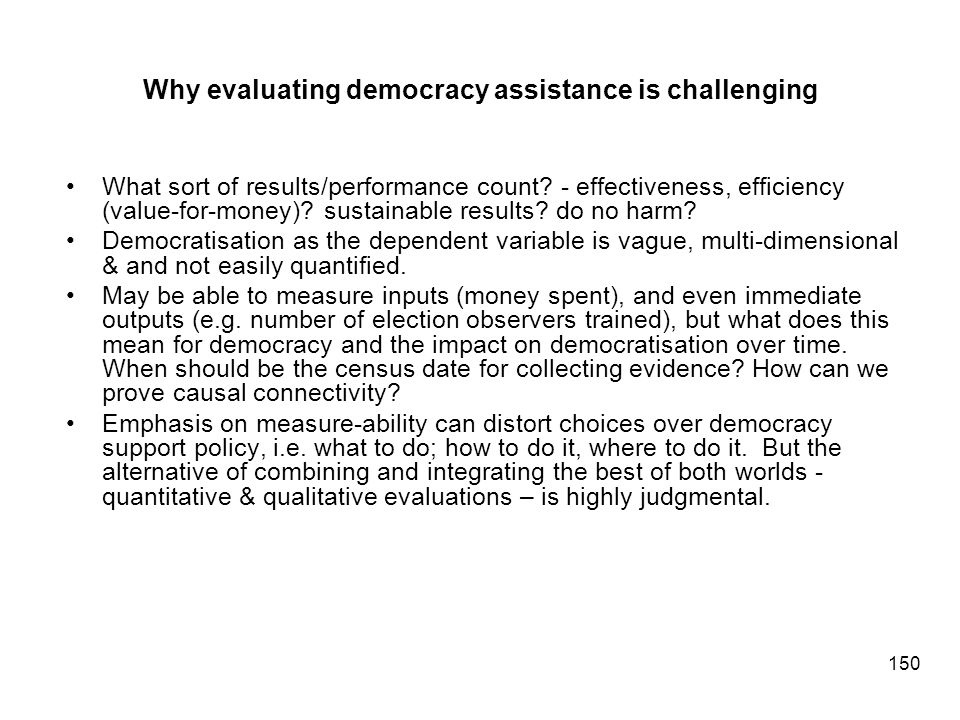 Why evaluating democracy assistance is challenging