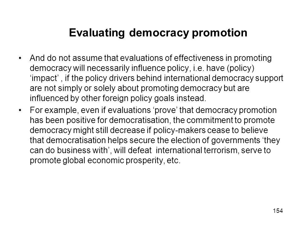 Evaluating democracy promotion