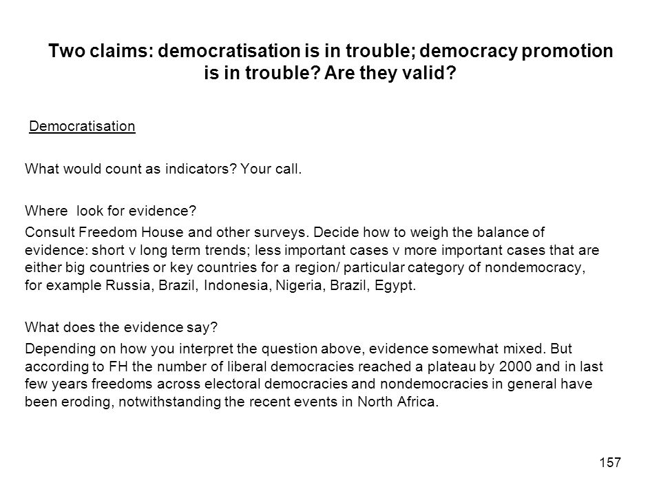 Two claims: democratisation is in trouble; democracy promotion is in trouble Are they valid