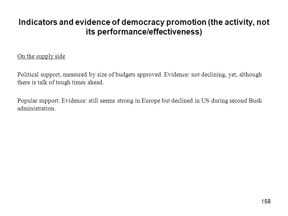Indicators and evidence of democracy promotion (the activity, not its performance/effectiveness)