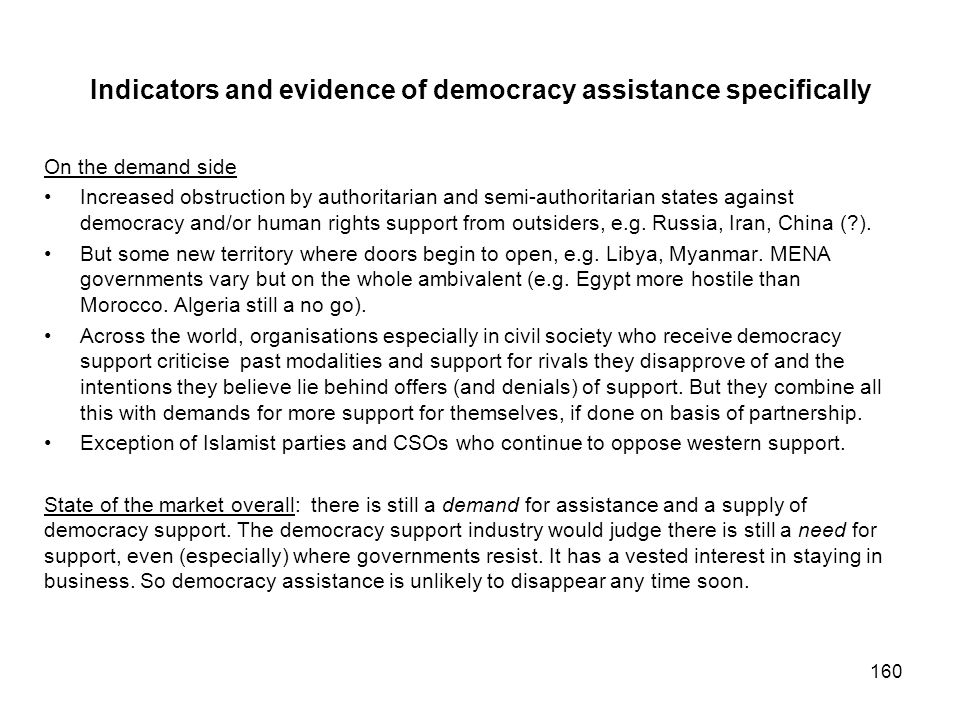 Indicators and evidence of democracy assistance specifically