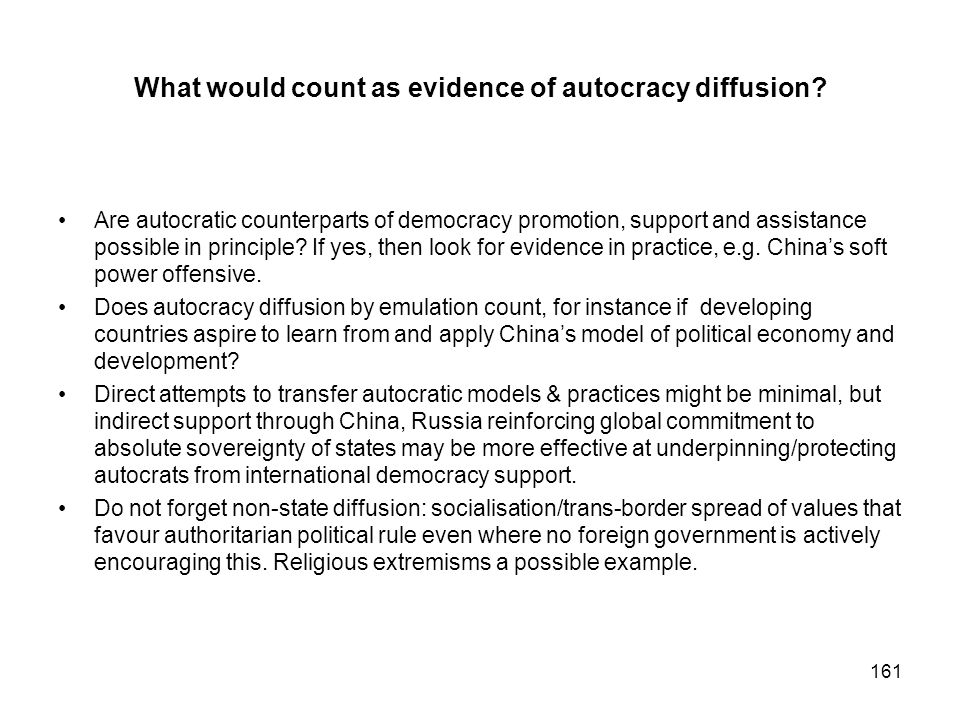 What would count as evidence of autocracy diffusion