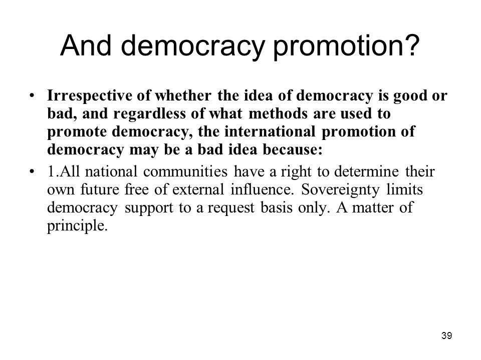 And democracy promotion
