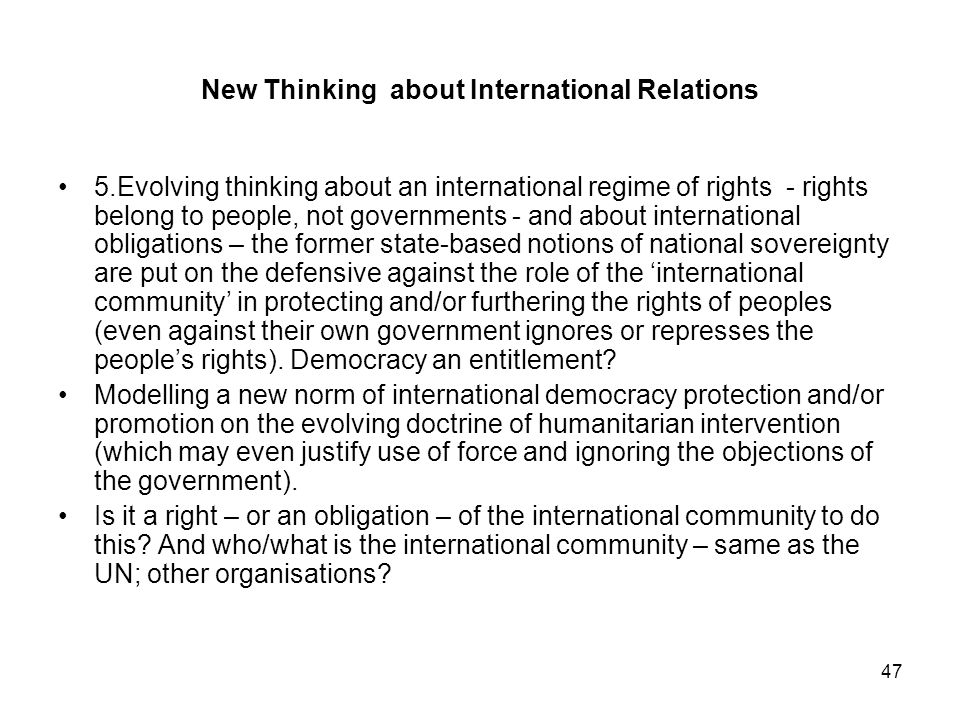 New Thinking about International Relations
