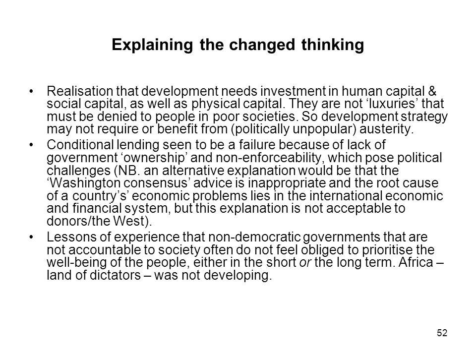 Explaining the changed thinking