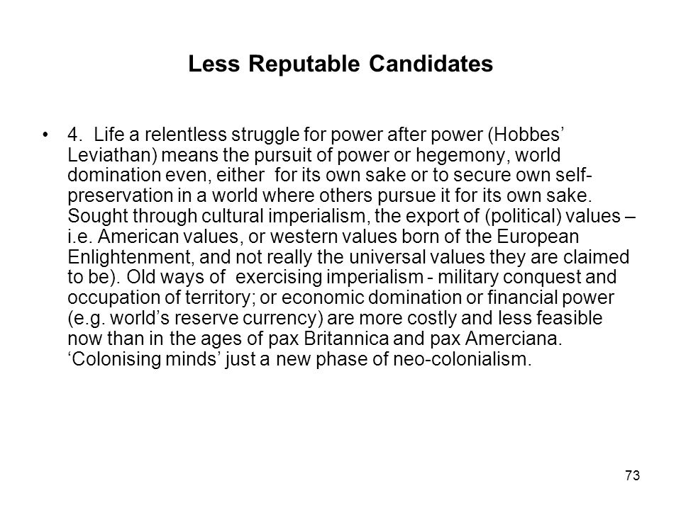 Less Reputable Candidates