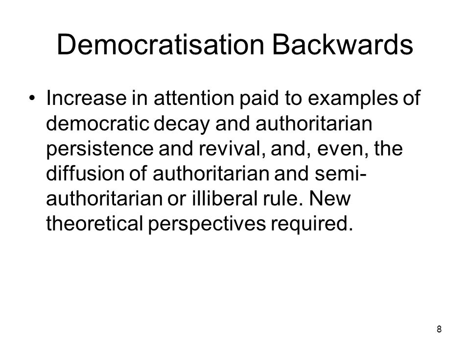 Democratisation Backwards