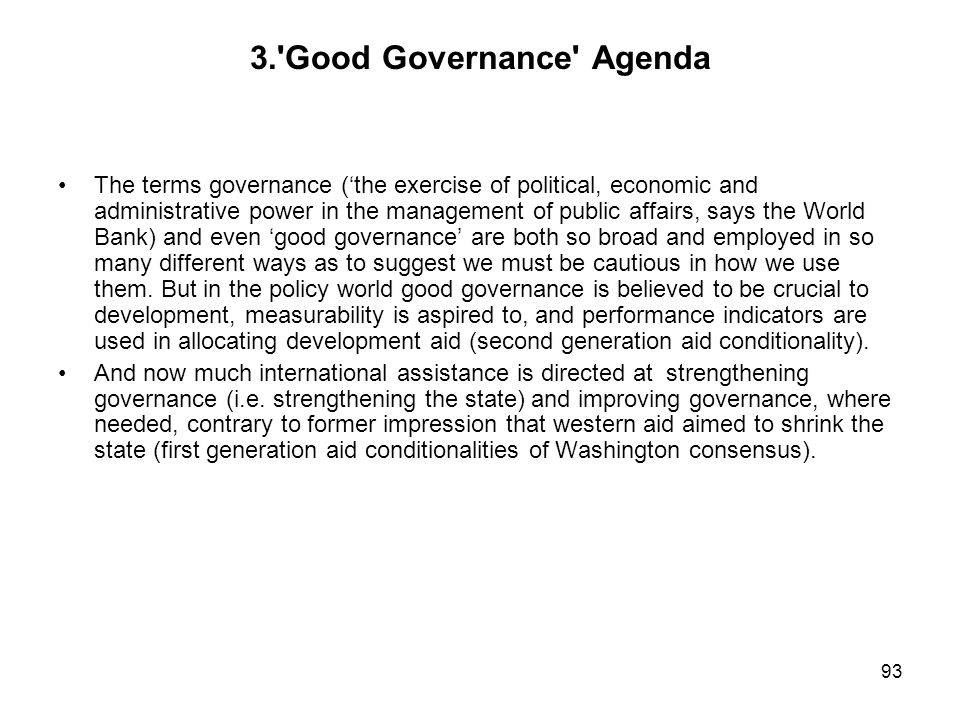 3. Good Governance Agenda