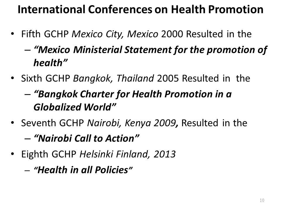 International Conferences on Health Promotion