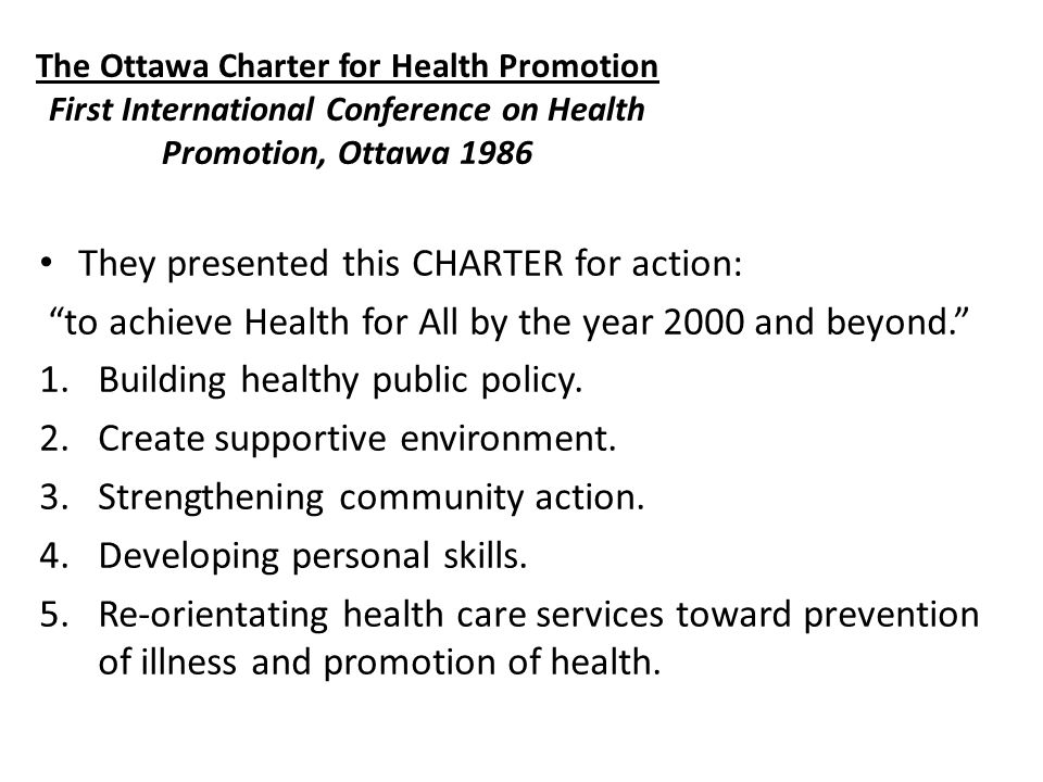 They presented this CHARTER for action: