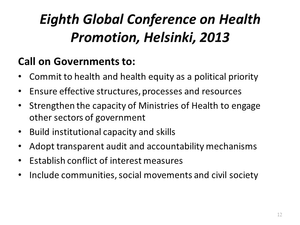 Eighth Global Conference on Health Promotion, Helsinki, 2013