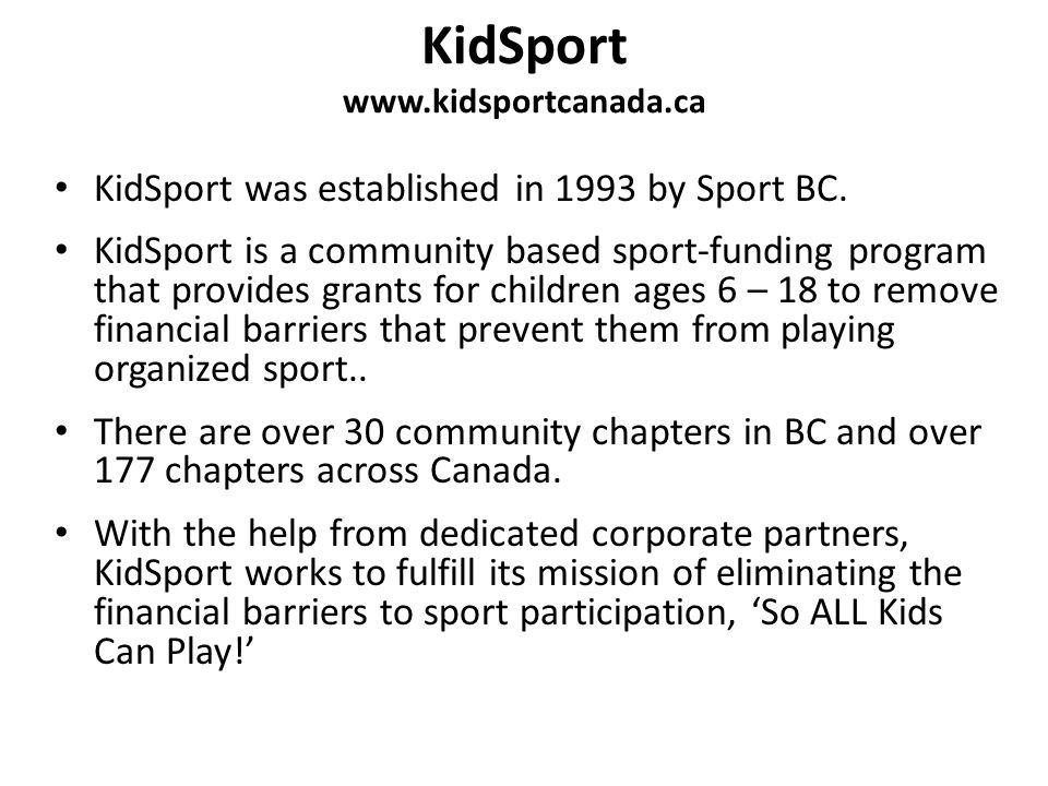 KidSport www.kidsportcanada.ca