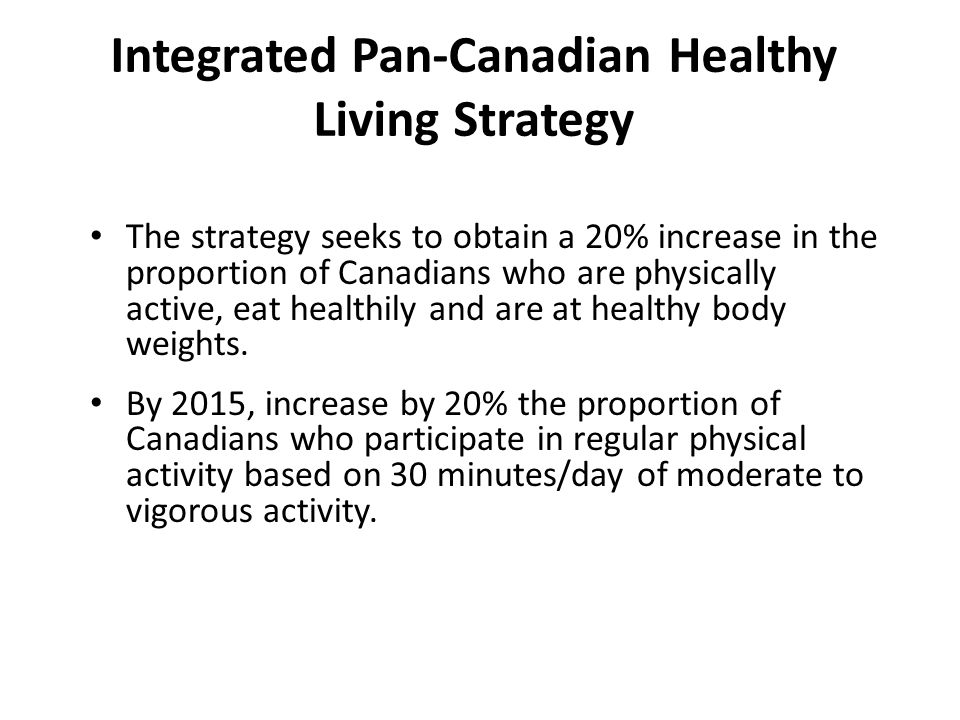 Integrated Pan-Canadian Healthy Living Strategy