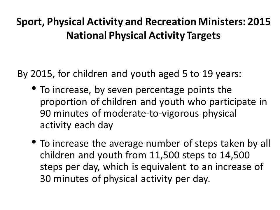 Sport, Physical Activity and Recreation Ministers: 2015 National Physical Activity Targets