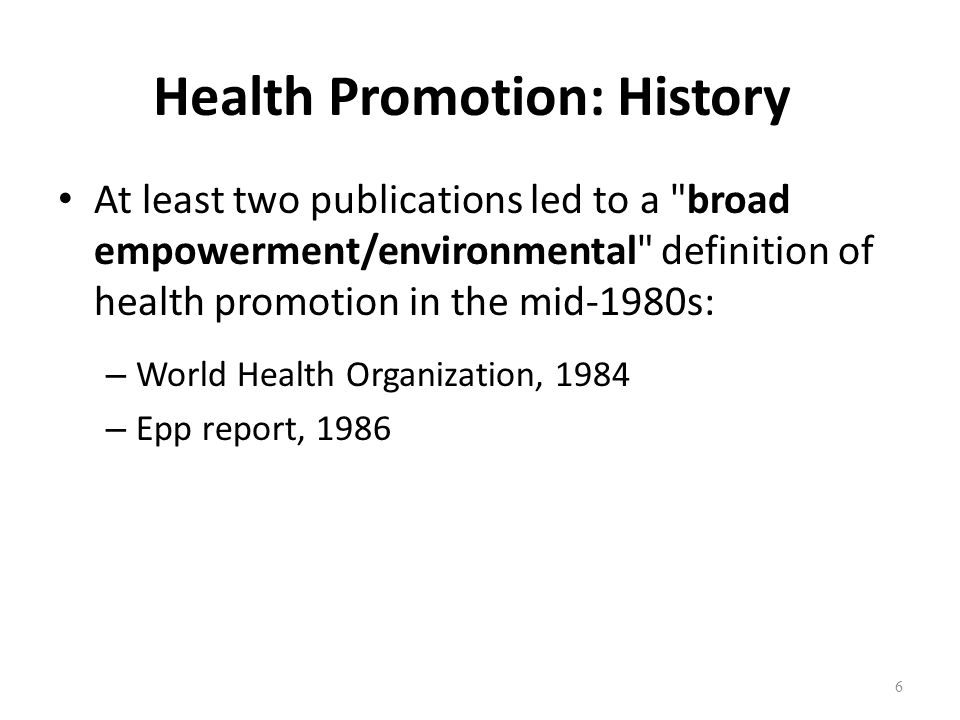 Health Promotion: History