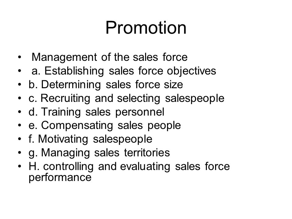 Promotion Management of the sales force
