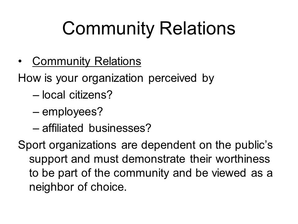 Community Relations Community Relations