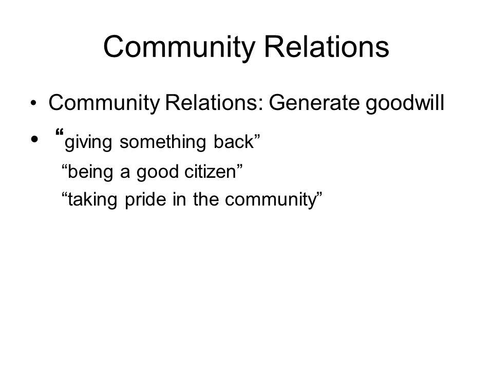 Community Relations giving something back