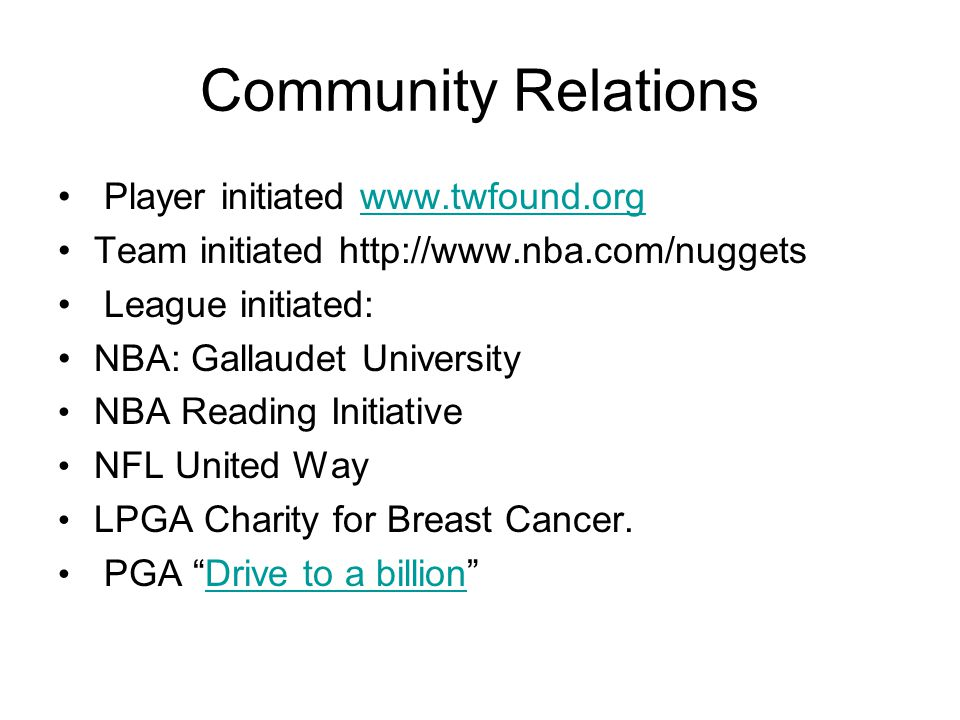 Community Relations Player initiated www.twfound.org