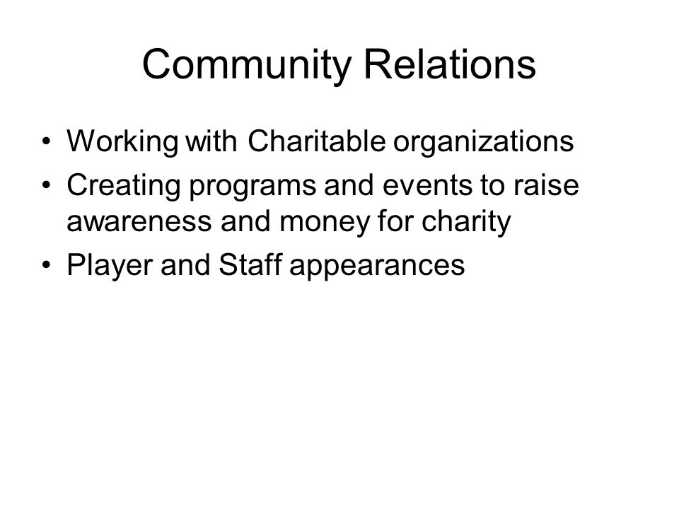 Community Relations Working with Charitable organizations