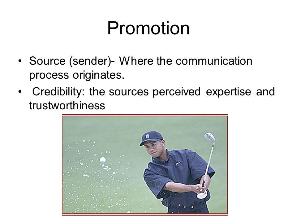 Promotion Source (sender)- Where the communication process originates.