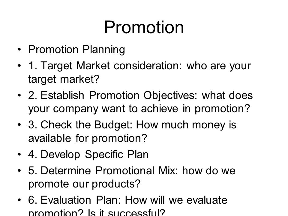 Promotion Promotion Planning