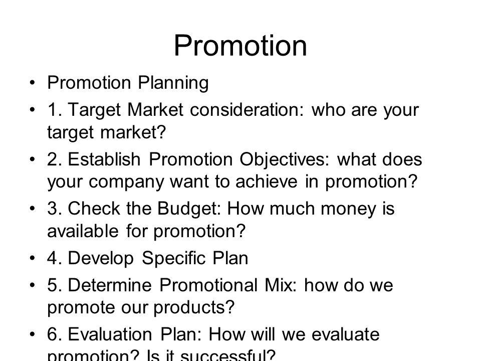 Promotion Promotion Planning