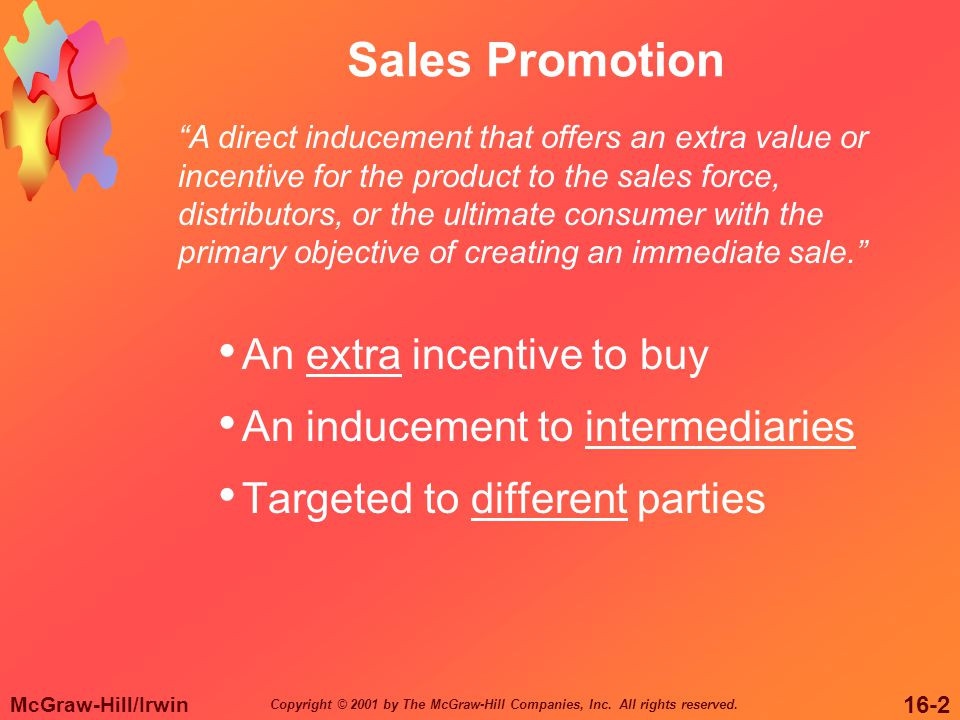 Sales Promotion An extra incentive to buy