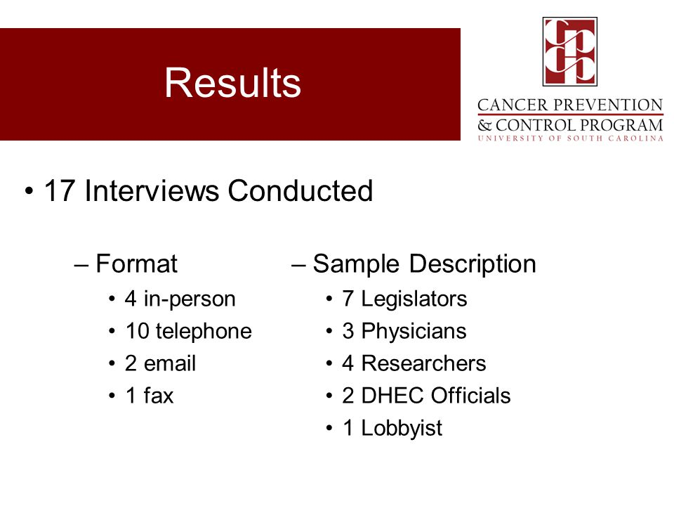 Results 17 Interviews Conducted Format Sample Description 4 in-person
