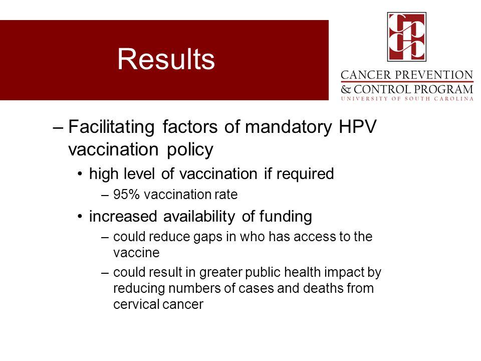 Results Facilitating factors of mandatory HPV vaccination policy