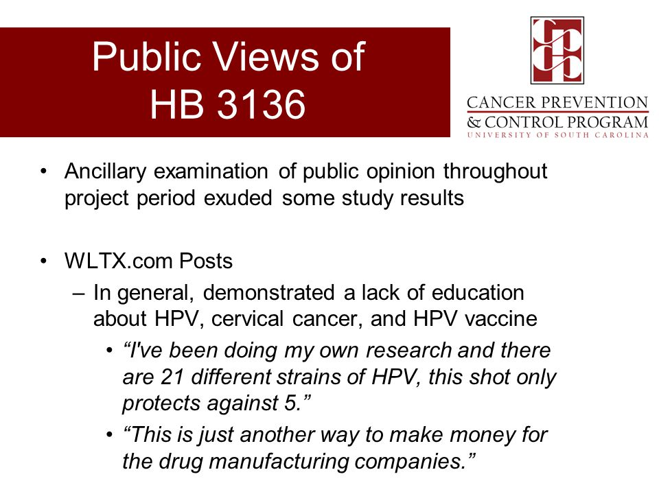 Public Views of HB 3136 Ancillary examination of public opinion throughout project period exuded some study results.