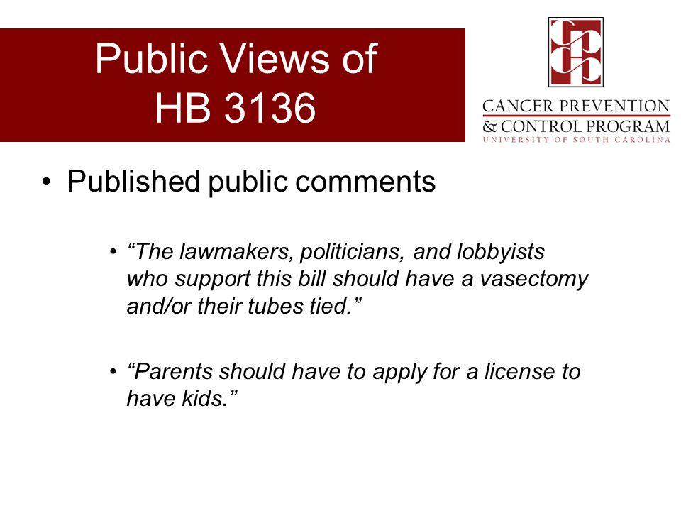 Public Views of HB 3136 Published public comments