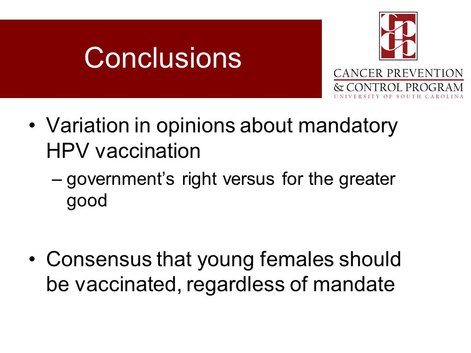 Conclusions Variation in opinions about mandatory HPV vaccination