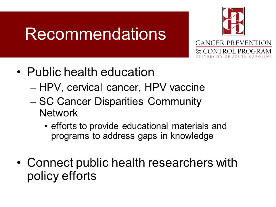 Recommendations Public health education