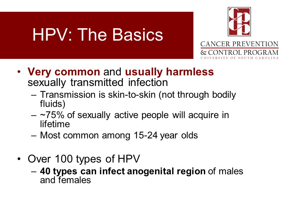 HPV: The Basics Very common and usually harmless sexually transmitted infection. Transmission is skin-to-skin (not through bodily fluids)