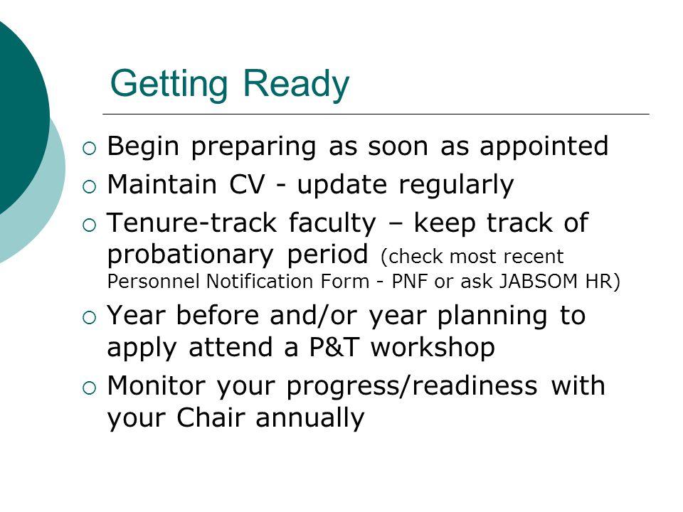 Getting Ready Begin preparing as soon as appointed