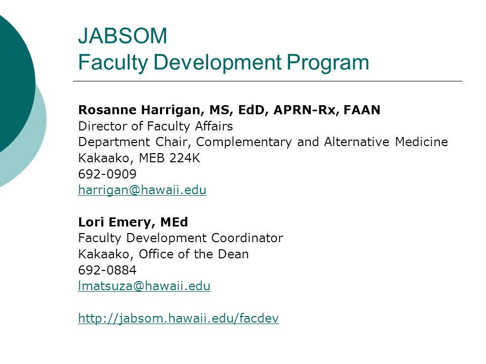 JABSOM Faculty Development Program