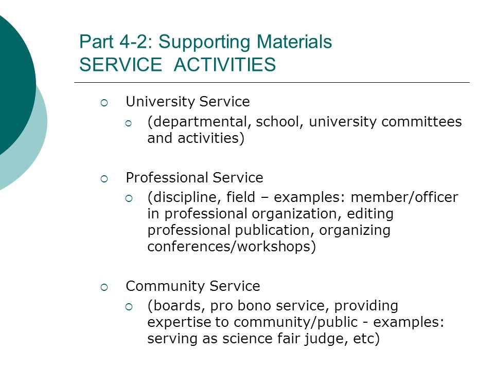 Part 4-2: Supporting Materials SERVICE ACTIVITIES