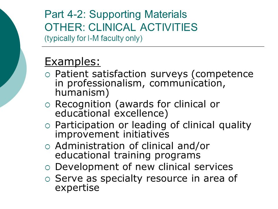 Part 4-2: Supporting Materials OTHER: CLINICAL ACTIVITIES (typically for I-M faculty only)
