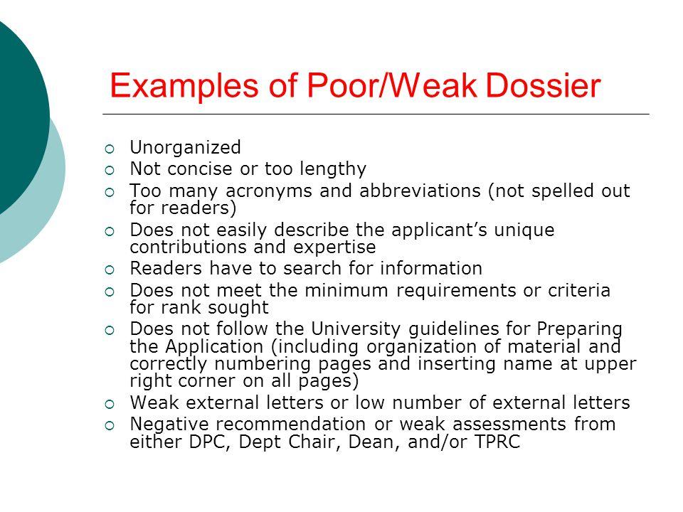 Examples of Poor/Weak Dossier