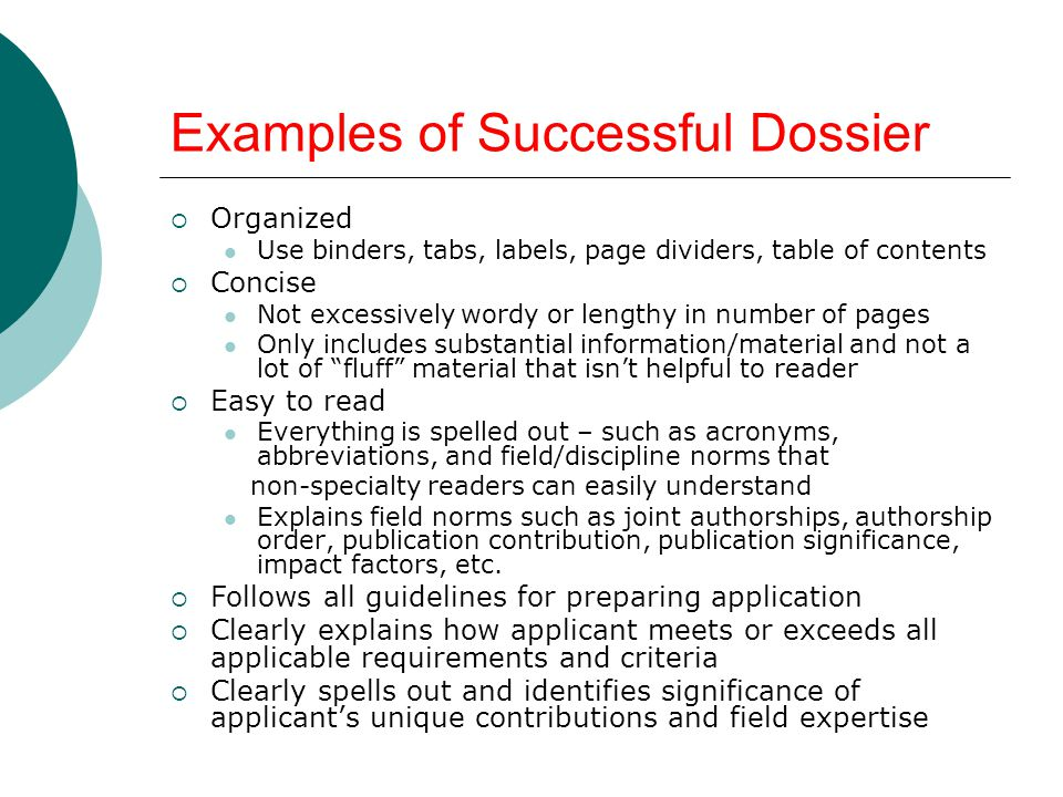 Examples of Successful Dossier