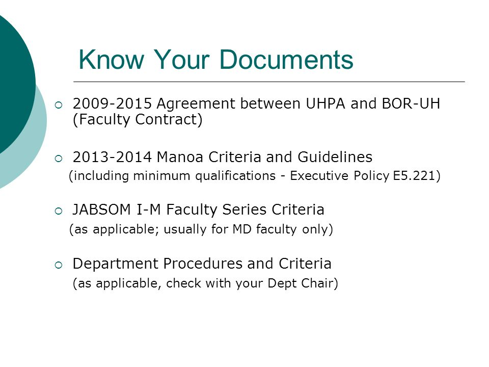 Know Your Documents 2009-2015 Agreement between UHPA and BOR-UH (Faculty Contract) 2013-2014 Manoa Criteria and Guidelines.