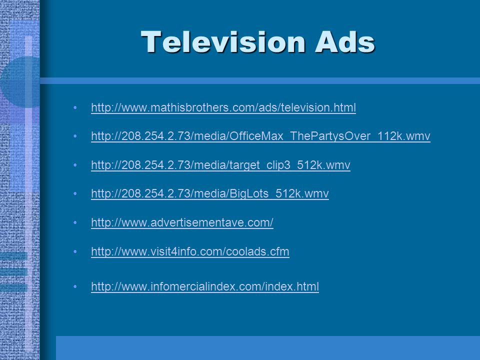 Television Ads http://www.mathisbrothers.com/ads/television.html