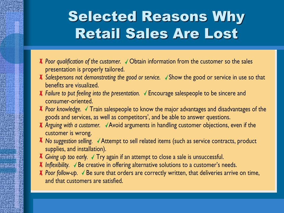 Selected Reasons Why Retail Sales Are Lost