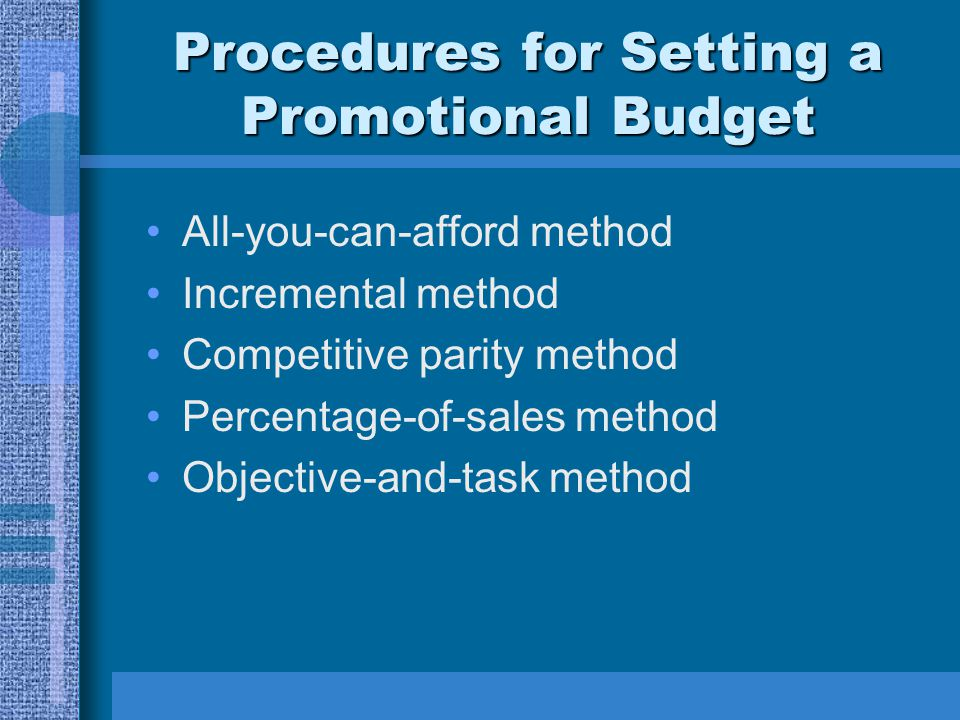 Procedures for Setting a Promotional Budget