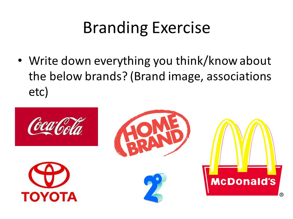 Branding Exercise Write down everything you think/know about the below brands.