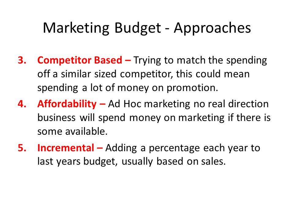 Marketing Budget - Approaches