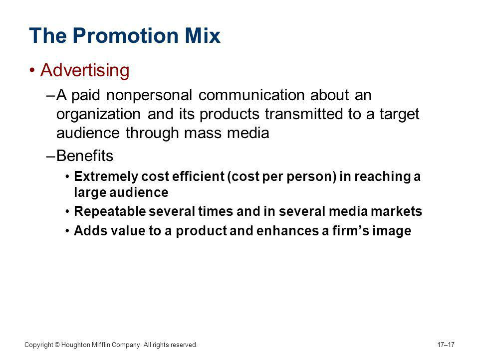 The Promotion Mix Advertising