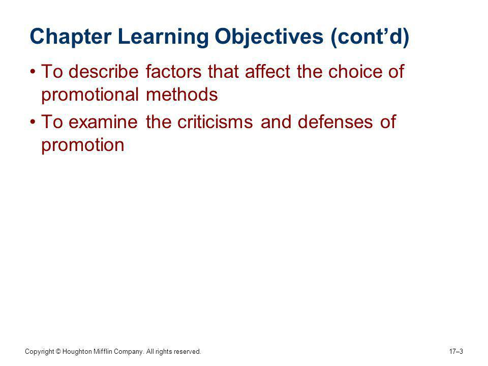 Chapter Learning Objectives (cont'd)